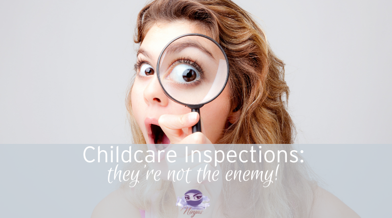 woman with magnifying glass childcare inspection
